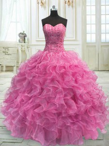 Sleeveless Organza Floor Length Lace Up Vestidos de Quinceanera in Rose Pink with Beading and Ruffles