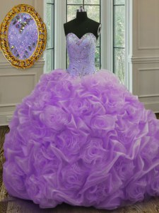 Trendy Lavender Sleeveless Beading Lace Up Ball Gown Prom Dress