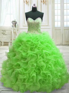 Lace Up Quinceanera Dress Beading and Ruffles Sleeveless Sweep Train
