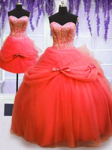 Flirting Three Piece Sweetheart Sleeveless Tulle Vestidos de Quinceanera Beading and Bowknot Lace Up