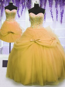 Graceful Three Piece Ball Gowns 15th Birthday Dress Gold Sweetheart Tulle Sleeveless Floor Length Lace Up