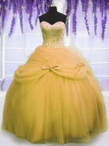 Gold Sleeveless Floor Length Beading and Bowknot Lace Up 15th Birthday Dress