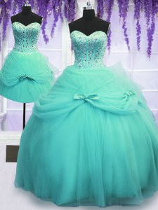 Three Piece Aqua Blue Tulle Lace Up Quinceanera Dress Sleeveless Floor Length Beading and Bowknot
