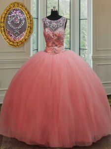Flare Watermelon Red Scoop Lace Up Beading Quinceanera Dress Sleeveless