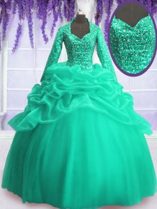 Long Sleeves Sequins and Pick Ups Zipper Quinceanera Gowns