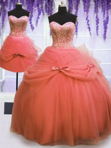 Glamorous Three Piece Watermelon Red Lace Up Sweetheart Beading and Bowknot 15th Birthday Dress Tulle Sleeveless