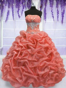 Sexy Floor Length Watermelon Red and Coral Red Vestidos de Quinceanera Organza Sleeveless Beading