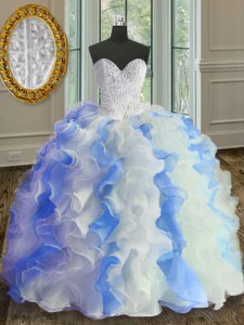 Sweetheart Sleeveless Lace Up 15 Quinceanera Dress White and Blue Organza
