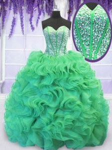 High Quality Turquoise Lace Up Quince Ball Gowns Beading and Ruffles Sleeveless With Brush Train