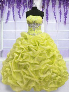 High Quality Organza Sleeveless Floor Length Quinceanera Gowns and Beading