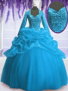 Delicate V-neck Long Sleeves Organza Sweet 16 Quinceanera Dress Sequins and Pick Ups Zipper