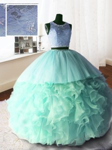 Scoop Apple Green Organza and Tulle and Lace Zipper Quinceanera Gown Sleeveless With Brush Train Beading and Lace and Ruffles