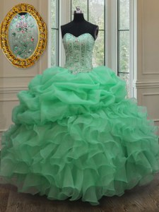 Elegant Sleeveless Lace Up Floor Length Beading and Ruffles and Pick Ups Sweet 16 Quinceanera Dress