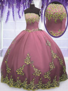 Free and Easy Floor Length Lilac Quinceanera Dresses Tulle Sleeveless Appliques