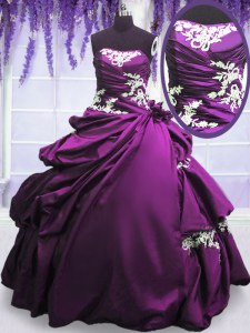 Purple Taffeta Lace Up Quince Ball Gowns Sleeveless Floor Length Appliques and Pick Ups
