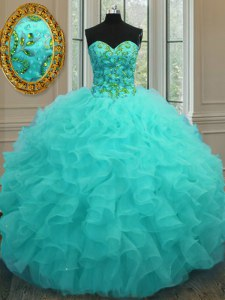 Free and Easy Floor Length Aqua Blue 15 Quinceanera Dress Sweetheart Sleeveless Lace Up