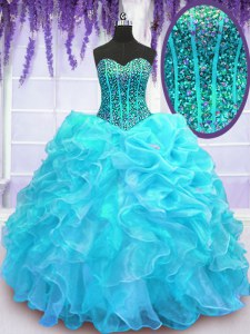 New Arrival Aqua Blue Ball Gowns Beading and Ruffles and Pick Ups Quinceanera Dress Lace Up Organza Sleeveless Floor Length