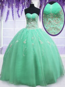 Sexy Apple Green Sweetheart Neckline Beading and Embroidery Sweet 16 Quinceanera Dress Sleeveless Zipper