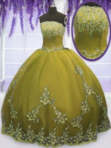 Amazing Olive Green Strapless Neckline Appliques Quinceanera Dresses Sleeveless Zipper