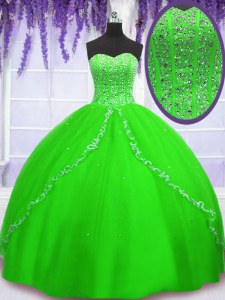 Vintage Sleeveless Tulle Floor Length Lace Up Quinceanera Gown in with Beading