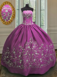 Strapless Sleeveless Lace Up Quince Ball Gowns Fuchsia Satin