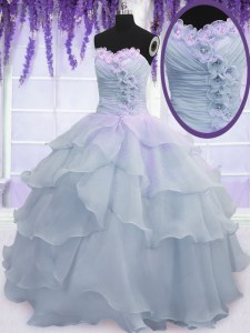 Fabulous Ruffled Floor Length Light Blue Quinceanera Gowns Sweetheart Sleeveless Lace Up