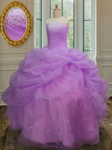 Trendy Strapless Sleeveless Organza Quinceanera Gown Embroidery and Pick Ups Lace Up