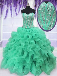 Turquoise Lace Up Sweet 16 Dress Beading and Ruffles Sleeveless Floor Length