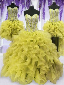 Custom Fit Four Piece Sleeveless Floor Length Beading and Ruffles Lace Up Sweet 16 Quinceanera Dress with Light Yellow