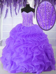 Floor Length Purple Sweet 16 Quinceanera Dress Organza Sleeveless Beading and Ruffles