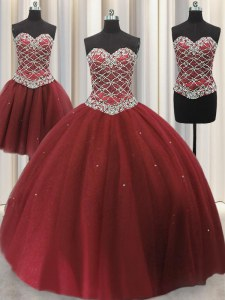 Three Piece Burgundy Quinceanera Gowns Military Ball and Sweet 16 and Quinceanera and For with Beading and Sequins Sweetheart Sleeveless Lace Up
