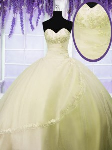 Light Yellow Lace Up Sweetheart Appliques Quinceanera Gowns Tulle Sleeveless