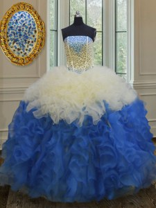 Superior Blue And White Sleeveless Beading and Ruffles Floor Length Quince Ball Gowns