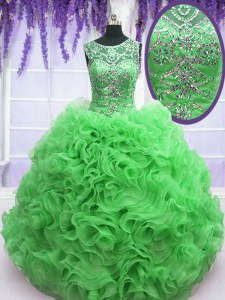 Sweet Green Sweet 16 Quinceanera Dress Military Ball and Sweet 16 and Quinceanera and For with Beading and Ruffles Scoop Sleeveless Lace Up