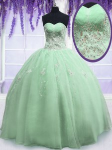 Super Yellow Green Organza Zipper Sweetheart Sleeveless Floor Length Quinceanera Gowns Beading