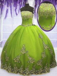 Floor Length Olive Green Quince Ball Gowns Tulle Sleeveless Appliques
