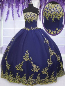 Elegant Navy Blue Zipper Quinceanera Gowns Appliques Sleeveless Floor Length
