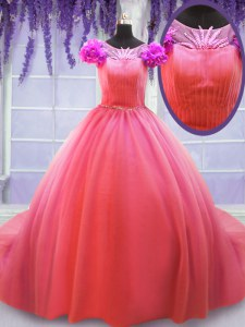 Scoop Ball Gowns Short Sleeves Watermelon Red Sweet 16 Dresses Court Train Lace Up