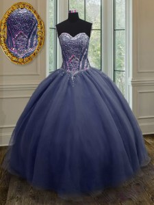 High Class Navy Blue Sleeveless Organza Lace Up Sweet 16 Dresses for Military Ball and Sweet 16 and Quinceanera