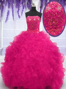 Designer Fuchsia Ball Gowns Strapless Sleeveless Organza With Brush Train Lace Up Beading and Ruffles Quinceanera Dress