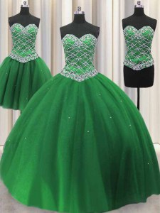 Three Piece Green Tulle Lace Up Ball Gown Prom Dress Sleeveless Floor Length Beading and Sequins