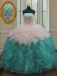 Fancy Sleeveless Beading and Ruffles Lace Up Quinceanera Dresses
