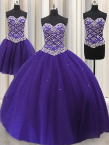 Best Selling Three Piece Purple Sleeveless Floor Length Beading and Sequins Lace Up Sweet 16 Quinceanera Dress