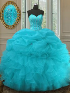 Ideal Aqua Blue Sweetheart Lace Up Beading and Ruffles and Pick Ups Quinceanera Gowns Sleeveless
