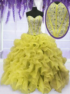 Beading and Ruffles 15th Birthday Dress Gold Lace Up Sleeveless Floor Length