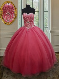 Pink Sleeveless Beading and Ruching Floor Length 15th Birthday Dress