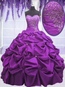 Attractive Appliques and Pick Ups Quinceanera Gowns Purple Lace Up Sleeveless Floor Length