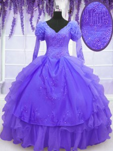 High Class Purple Long Sleeves Organza Lace Up Quinceanera Dresses for Military Ball and Sweet 16 and Quinceanera