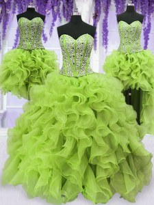 Eye-catching Four Piece Yellow Green Lace Up Quince Ball Gowns Beading and Ruffles Sleeveless Floor Length