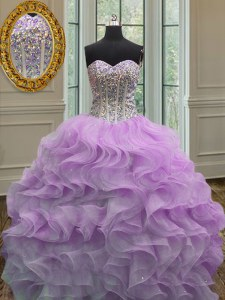 Simple Lilac Organza Lace Up Quinceanera Gown Sleeveless Floor Length Beading and Ruffles